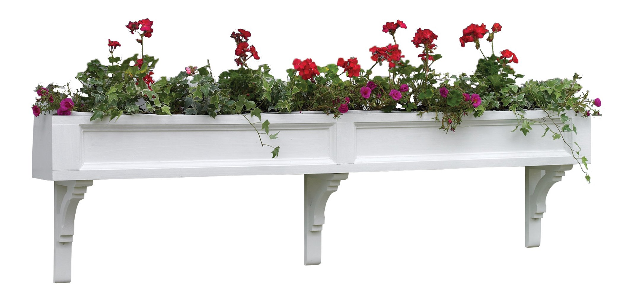 Lazy Hill Farm Designs 999034 Federal Cedar Window Box White with 3 Decorative Mounting Brackets, 60-Inch Width by 7-Inch Height by 7 3/4-Inch Depth by Good Directions