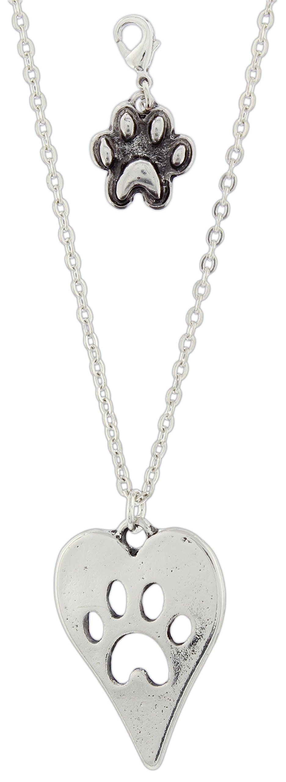 Midwest CBK Paw Print Heart Pendant Necklace with Matching Pet Collar Charm