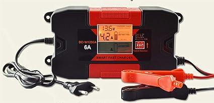 LIDER-Cargador de Bateria Coche 6A 12V Super Nuevo Diseño Mantenimiento Automatico Electrico Controlado por Micro Procesador Inteligente con Pantalla ...