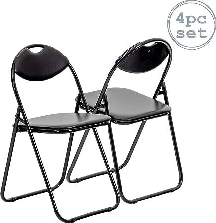 Silla de escritorio plegable - Con acolchado y estructura en negro ...