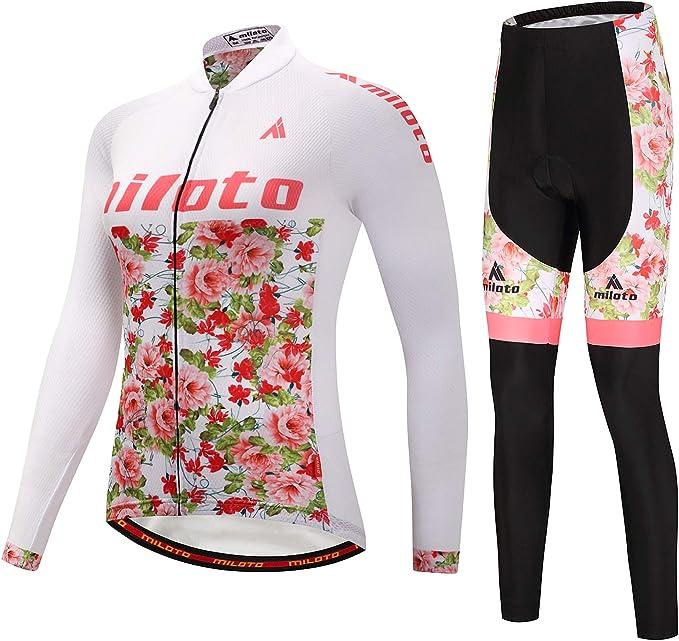 Miloto Damen Radtrikot /& Shorts Gepolstert Set Kurzarm Fahrrad Bekleidung Sommer