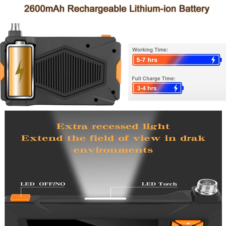 Schlangen-Kamera 1080P HD Endoskop-Kamera wasserdicht Videokamera mit 6 LED-Lichtern 3,9 mm 10,9 cm LCD-Bildschirm 2600 mAh Akku Orange-5m Industrie-Endoskop 5 m halbstarres Kabel