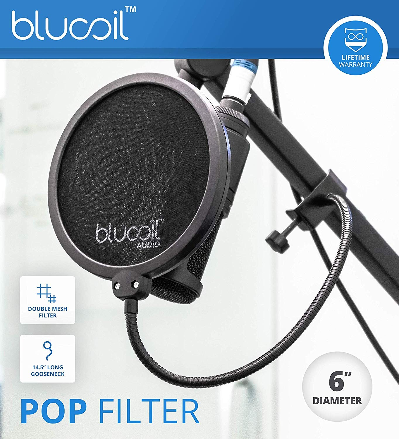 Blucoil 10-FT Balanced XLR Cable and 5x Cable Ties TC Helicon GO XLR 4-Channel Mixer for Online Broadcasting Bundle with Audio-Technica AT2020 Condenser Microphone Pop Filter