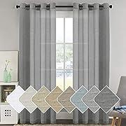 H.VERSAILTEX Natural Linen Blended Window Curtain Panels - Light Filtering Linen Sheer Curtains Nickel Grommet for Bedroom/Living Room (Set of 2, 52  W x 96  L - Charcoal)