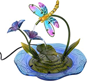 Shop LC Delivering Joy Dragonfly Design Water Fountain with UL Certified Pump Durable Metal Glass Indoor Outdoor Garden Decorations Tabletop Accessories