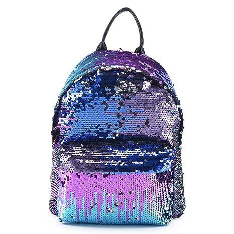 3a1ec4b724 AllRight Girls Sequins Backpack Glitter Bling Rucksack School Travel  Daypack Shoulder Bag (Blue)  Amazon.co.uk  Luggage