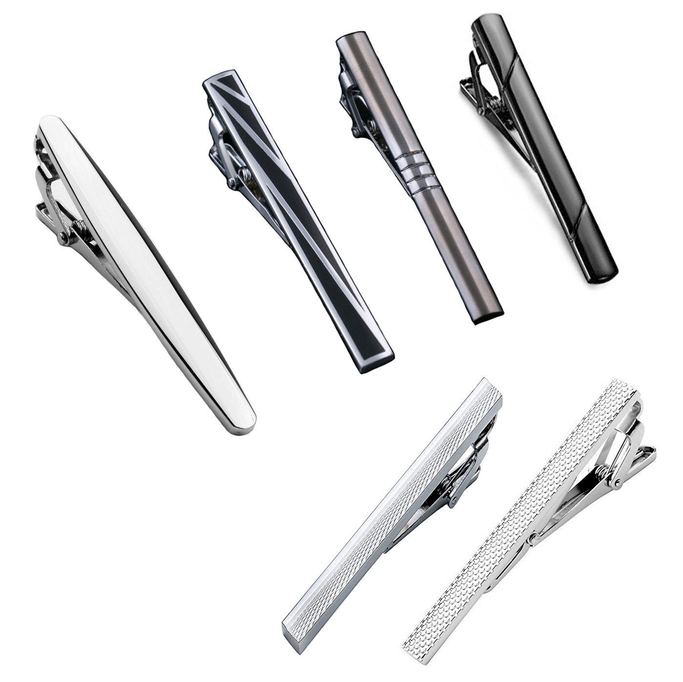 TANCH Tie Bar Clips Set for Mens Boys Womens 2.36in (6cm) (STYLE C-6 PCS)