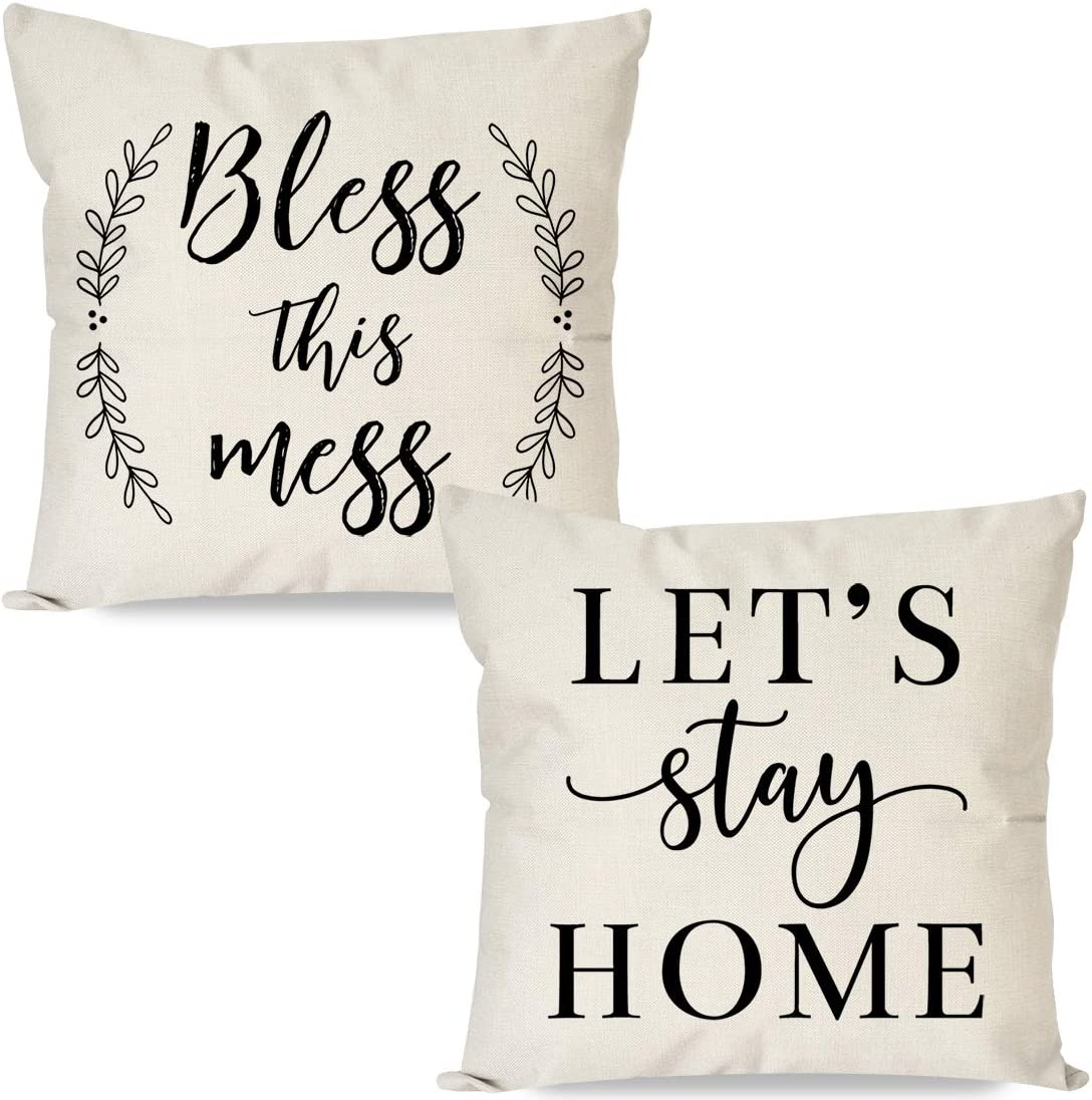 PANDICORN Set of 2 Farmhouse Pillow Covers 18x18 with Quotes Bless This Mess Let's Stay Home for Room Décor, Rustic Black and Cream Throw Pillow Cases for Living Room Couch Outdoor Porch