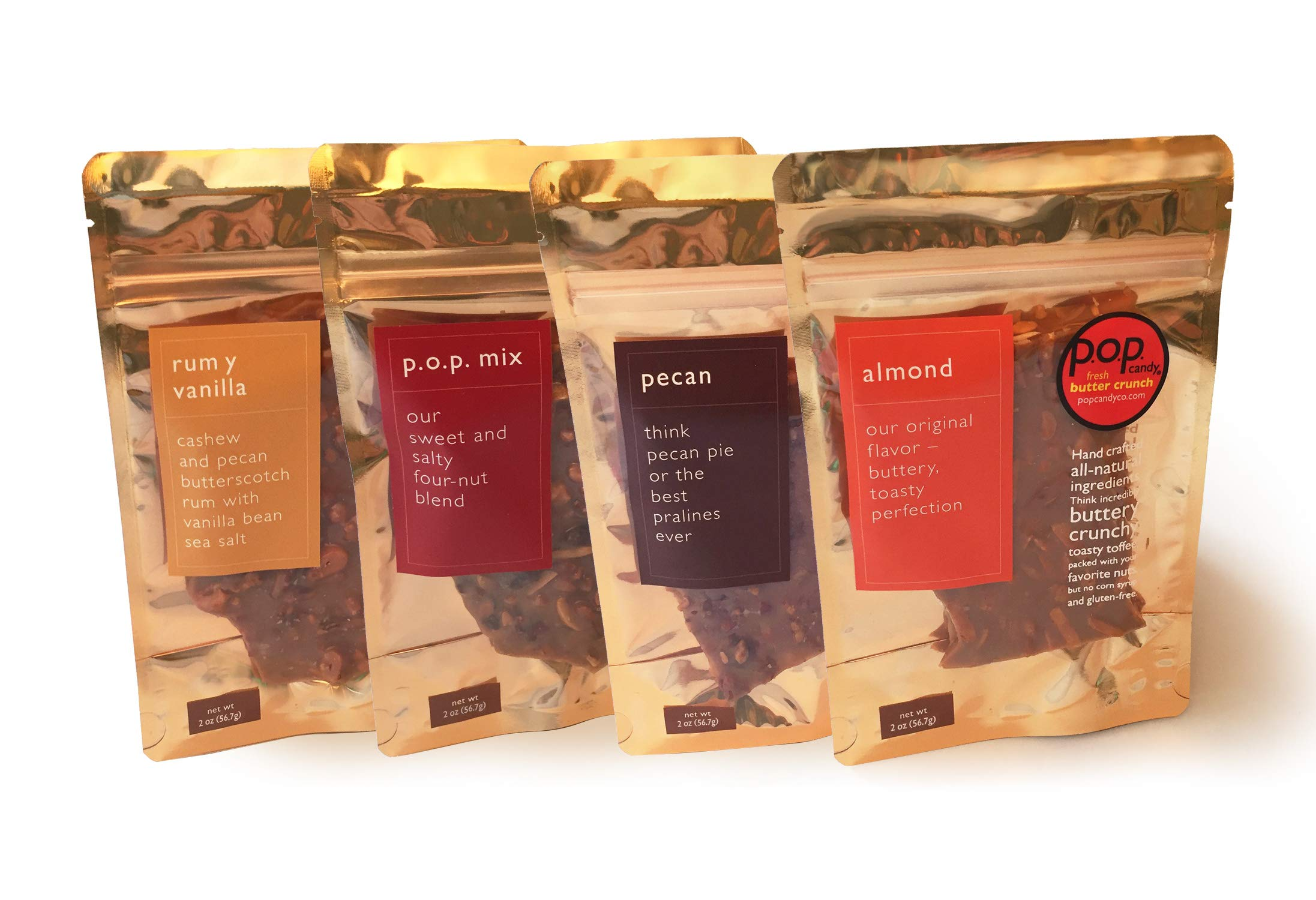 Butter Toffee Candy Classic Assortment (Pecan, Almond, Mix and Rum Y Vanilla), 2 Ounces Each | All-Natural, Corn Syrup-Free and Gluten-Free Gourmet Candy Brittle | Pop Candy by p.o.p. candy co.