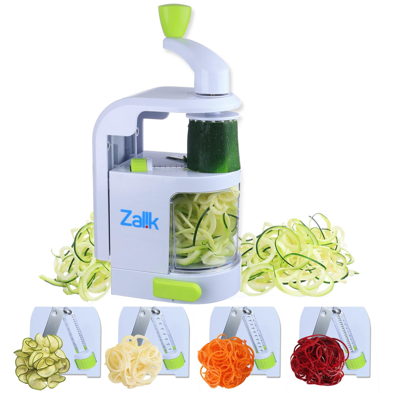 Spiralizer Vegetable Slicer - 4 IN 1 Blade Dial Veggie Spiralizer - Strongest-and-Heaviest Duty Vegetable Spiralizer- Vegetable Pasta Spaghetti Maker For Low Carb/Paleo/Gluten-Free Meals by Zalik