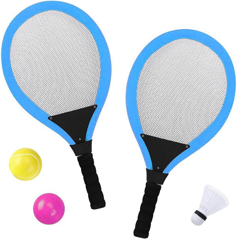 YIMORE Raquetas de Tenis bádminton con Bolas Juguete para niños - 3 en 1 Juego de Deporte Playa al Aire Libre (Azul)