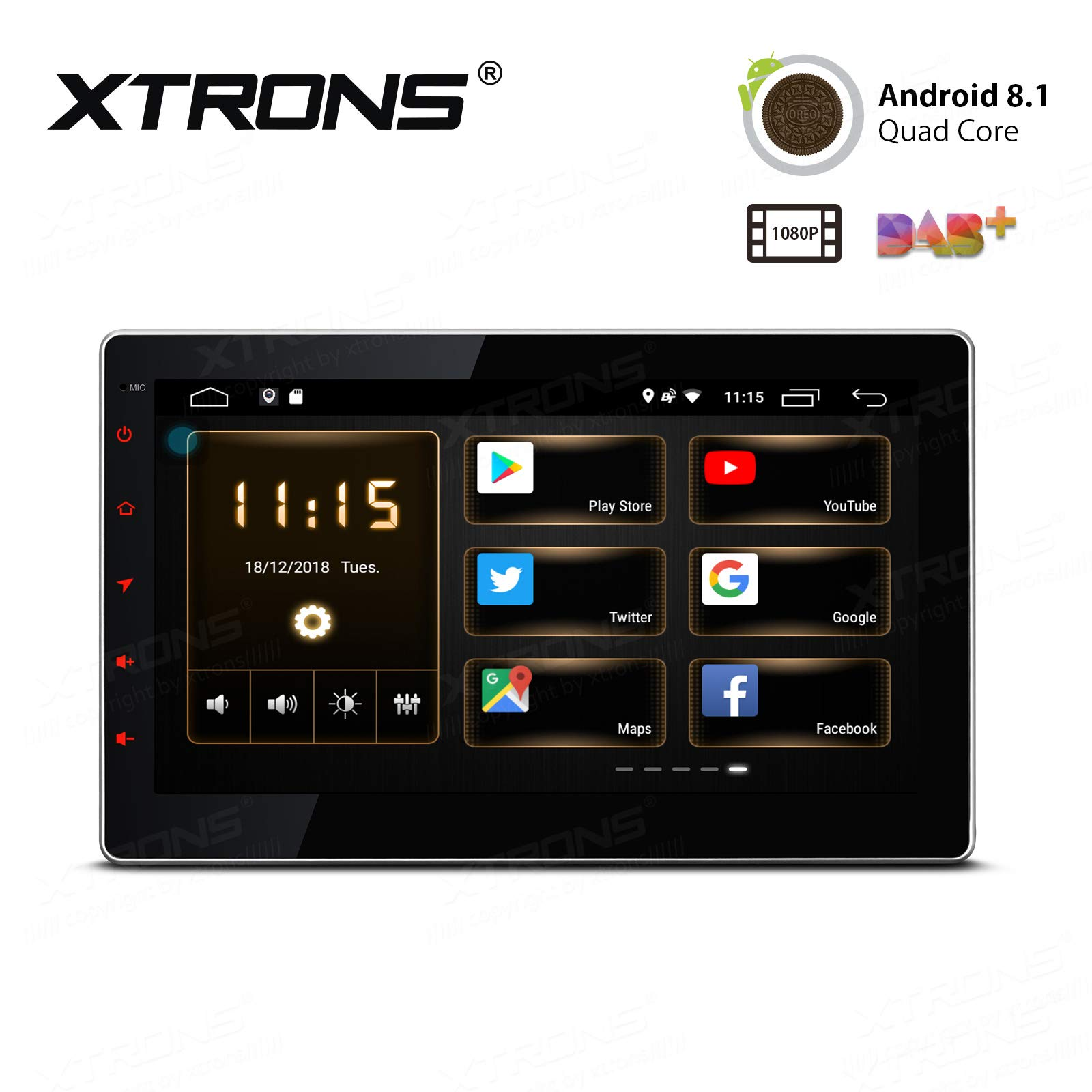 XTRONS 10.1 inch Touch Display Android 8.1 Quad-Core Car Stereo Radio Navigator GPS with USB Port Supports DVR 4G 3G OBD Backup Camera