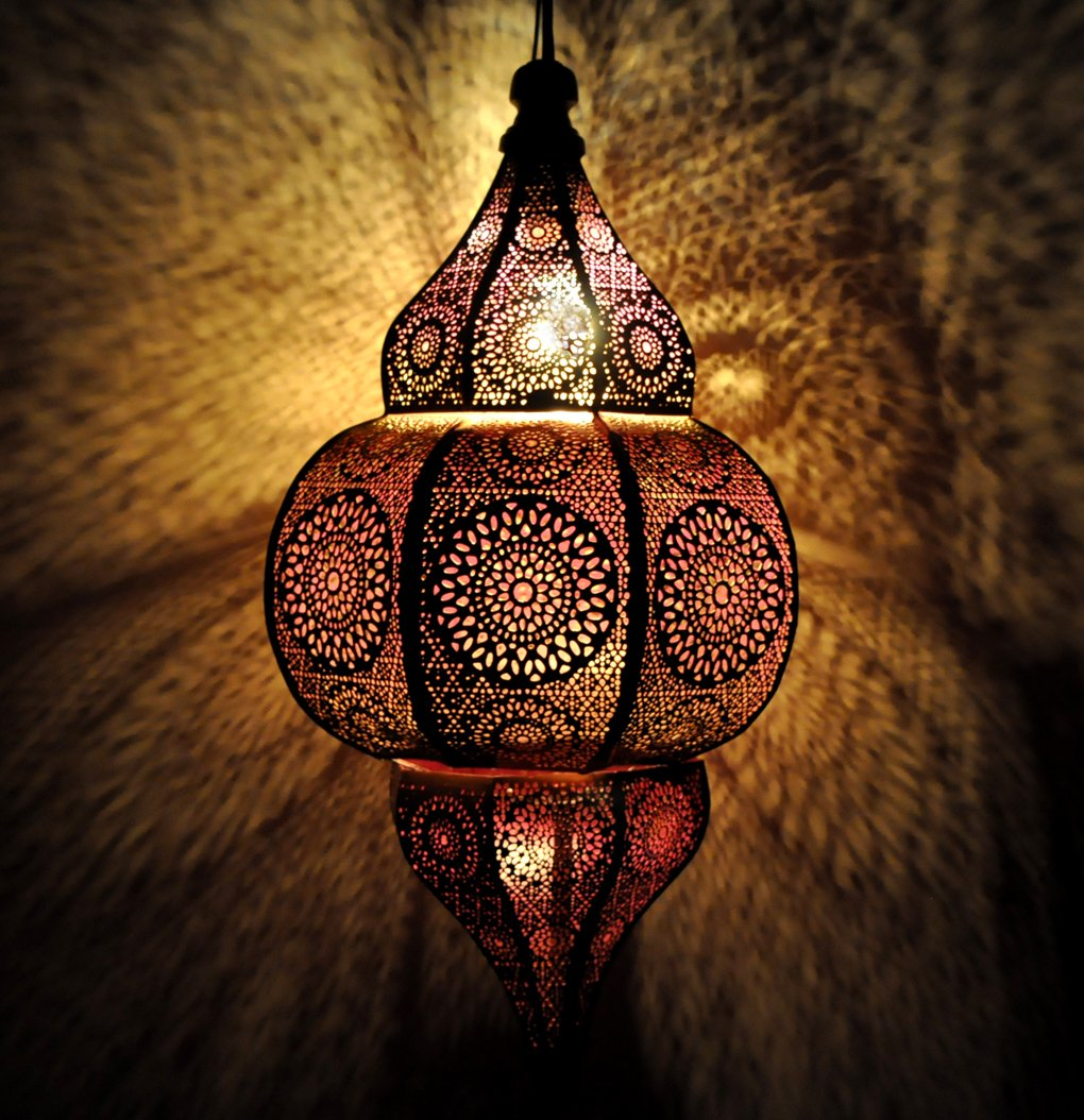 Lalhaveli Vintage Decorative Moroccan Hanging Pendant Light Fixture/Indoor & Outdoor Home Decor Ceiling Light for Living Room, Bed Room, Garden, Balcony & Patio, Metal Polished Brass Finish by Lalhaveli (Image #2)