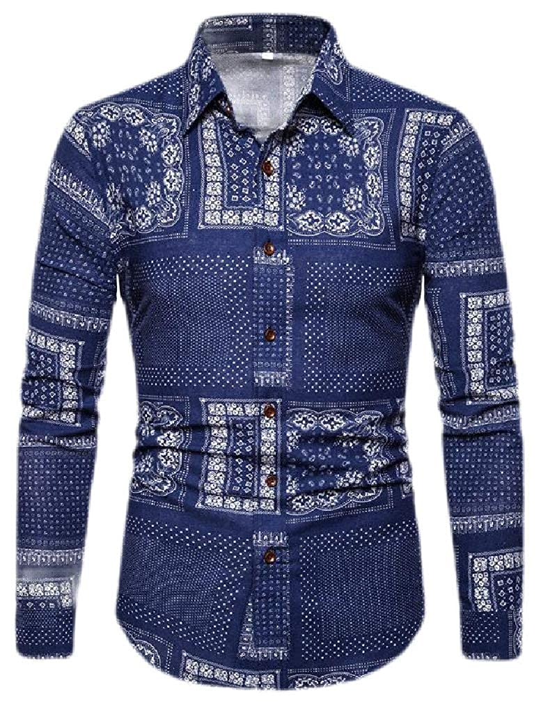 Sweatwater Mens Autumn Long Sleeve Print Curved Hem Lapel Neck Button Down Shirts