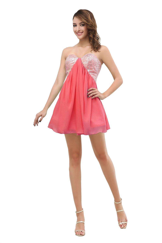 Dresstells Damen Kleider Mini Chiffon Herzförmig Cocktailkleid Abiballkleid mit Pailletten