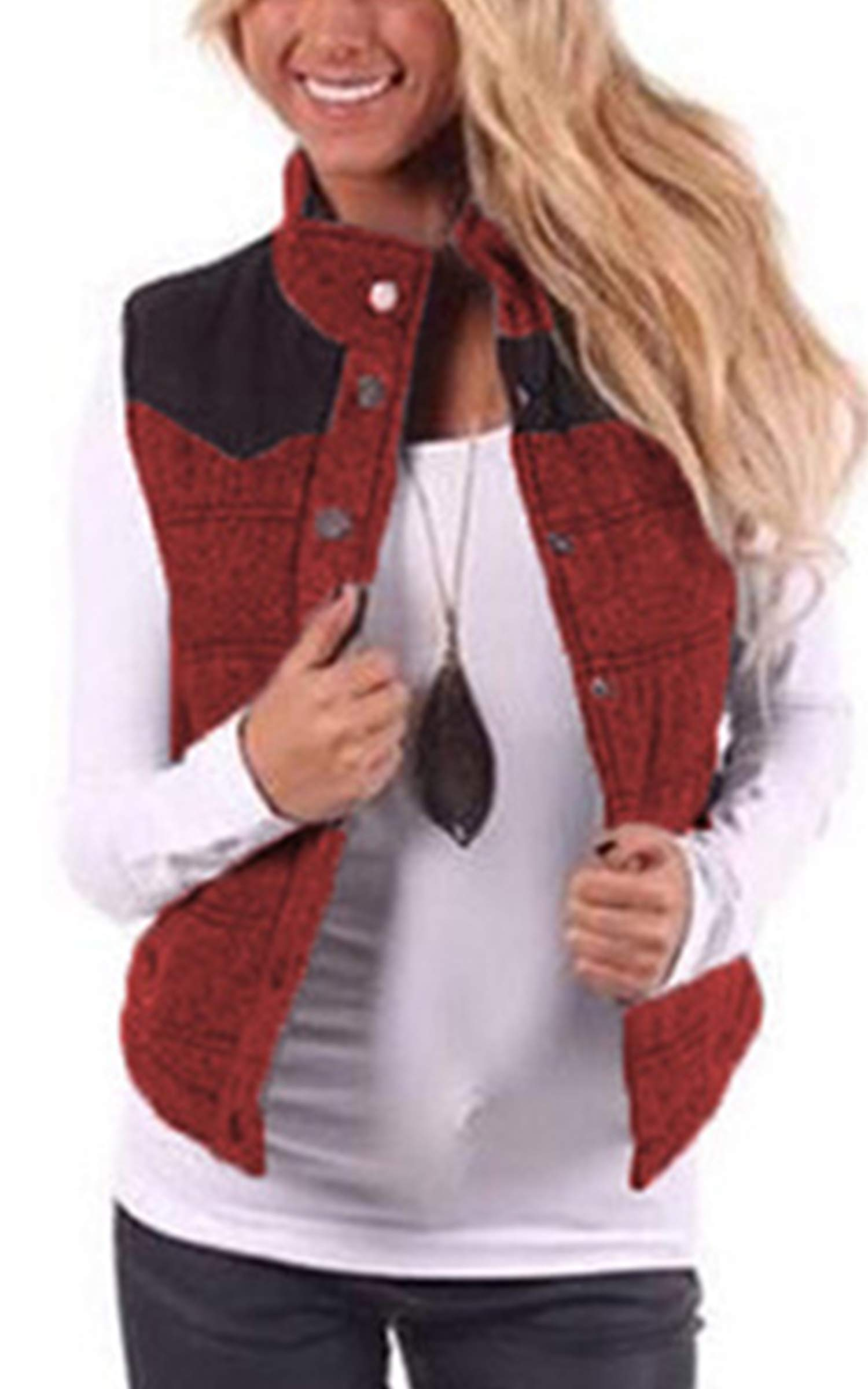 Angashion Women's Casual Sleeveless Quilted Stitching Puffer Vest Jacket Button Up Coat Outerwear with Pockets Red L