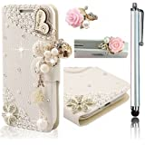 Vandot 2In1 Set 3D Lusso Accessori Flip Folio Pelle PU Book Wallet Cuoio Custodia Case Cover Shell Skin Per Caso Astuto Telefono Apple iPhone 6 Plus (5.5 inch)Pollice Bella Premium Quality Borsa Bag Copertura Rhinestone Bling Shinning Crystal Strass Sacchetto Caso Dell'unitÀ Di Elaborazione Smartphone Scintillio Artificial Leather Diamante Protection Protector Protettiva Magnetico Closure Chiusura Cristallo Diamand Cassa Mobile Signora Fashion Glittering Modern Girl Stile Style Design - Chiaro Fiore Card Ciondolo Per Cellulare Portafoglio Cuoio Donna Handmade Fatto a Fano Hybrid Pearl Heart I Love You Wooden+1x 3,5 mm Fiore Anti Spina Polvere Anti Dust Plug Anti-Dust Strass Tappi Polvere Earphone Jack Headphones - Bianca