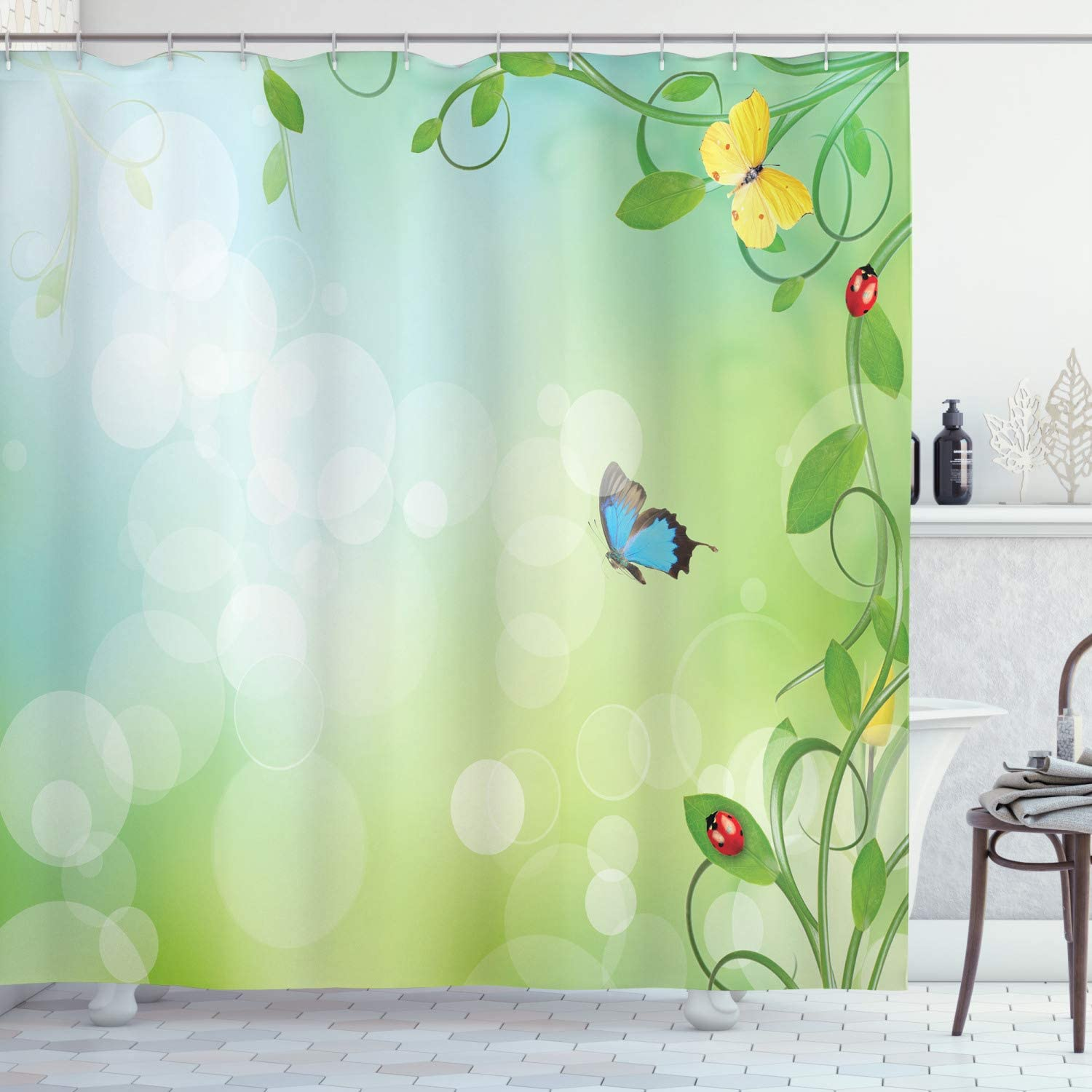 Ambesonne Ladybugs Shower Curtain, Spring Theme with Flowers Ladybugs and Butterflies Transformation Morph Print, Cloth Fabric Bathroom Decor Set with Hooks, 84