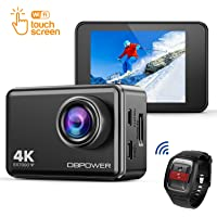 DBPOWER EX7000 Touchscreen Wi-Fi 4K Ultra HD 14MP Action Camera, 45m Waterproof Sports Cam with a 170-degree Wide-angle lens and 2.4G Remote Control and Accessories Kit