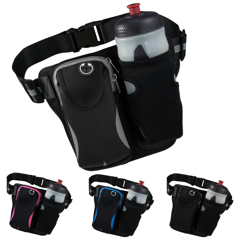 Reflective Running Belt Trendking Waist Bag with Water Bottle Holder iPhone X 6 7 8 Plus Galaxy Adjustable Waist Pack Ultralight Workout Waist Pouch for 6