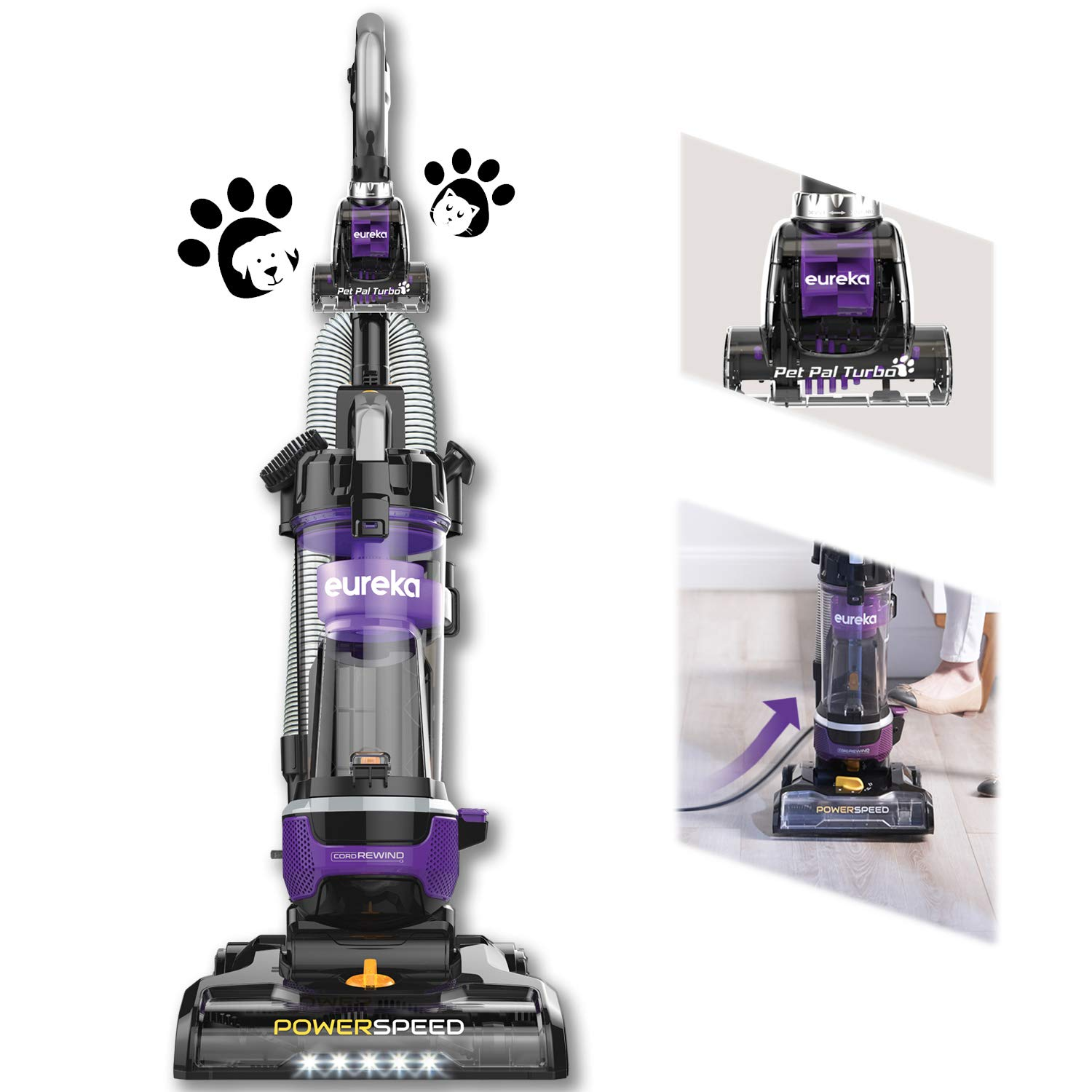 Eureka NEU202 PowerSpeed Lightweight Bagless Upright Vacuum Cleaner with Automatic Cord Rewind and 4 On-Board Tools, Pet + CordRewind, Grape Purple by EUREKA