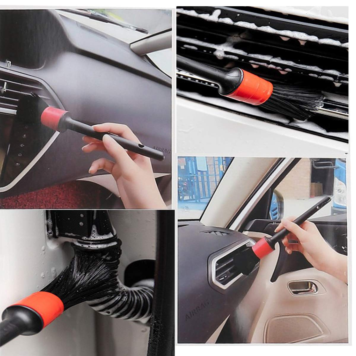 Engine Emblems Set of 5 Interior Detail Brush,YUNZI Auto Soft Detailing Brush Set ,Premium Natural Boar Hair Mixed Fiber Plastic Handle Automotive Car Detail Cleaner Brushes for Cleaning Wheels