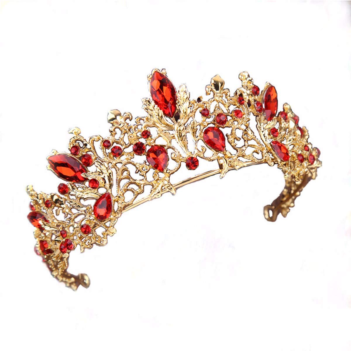 Wedding Crown, Beautiful headdress/The Bride Is Decorated With Red Crown Wedding Headwear Dress And Jewelry.