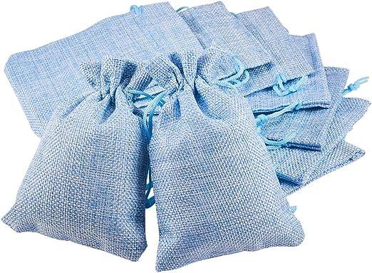 Imagen deBENECREAT 30 PCS Bolsas de Arpillera con Cordón Envase de Regalo Color Azul Claro para Fiesta Boda y Almacenamiento de Cosas Pequeñas 14x10cm