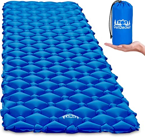 OutDecker Camping Sleeping Pad. Perfect Camping Air Mattress for Family Camping Trips, Backpacking or Sleepovers. Super Compact for Storage, Comfortable and Ultralight at 14oz.