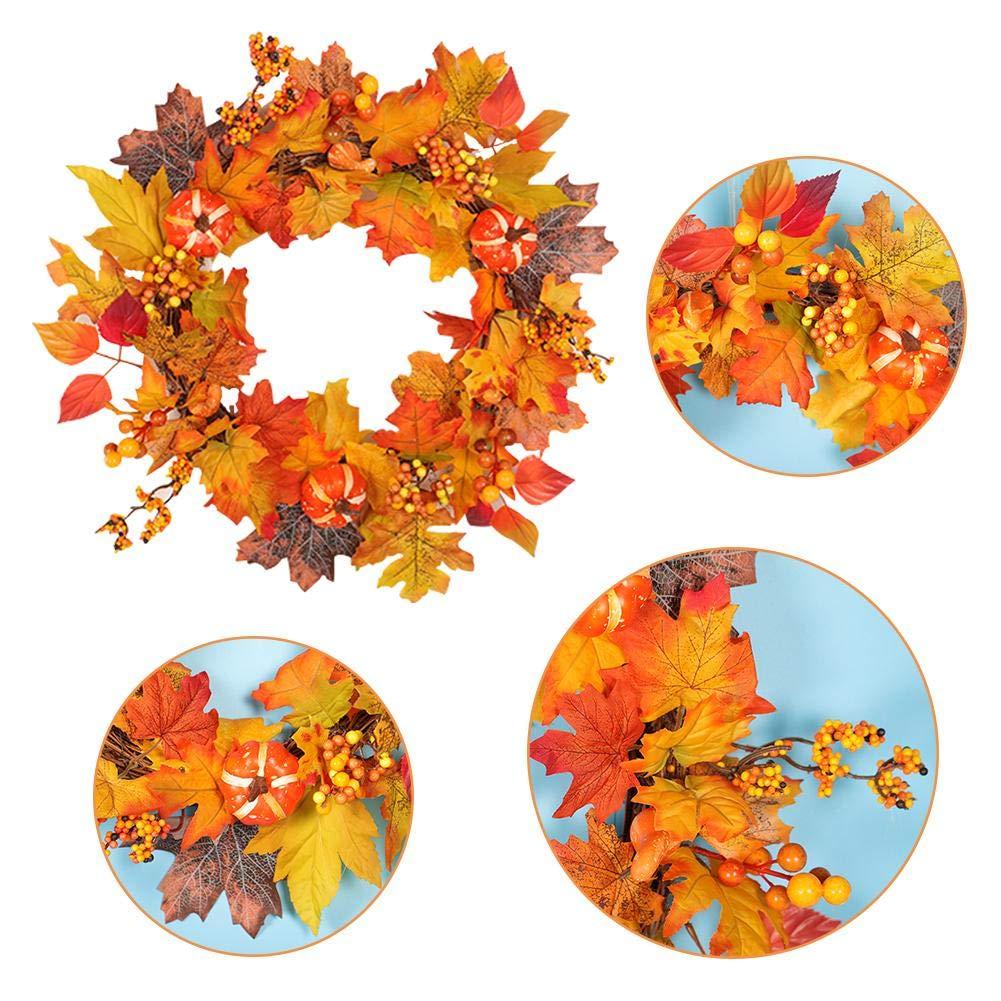 Autumn Christmas Wreath,Maple Leaf Christmas Garland,Home Hotel Shopping Mall Decoration Pendant Wreath