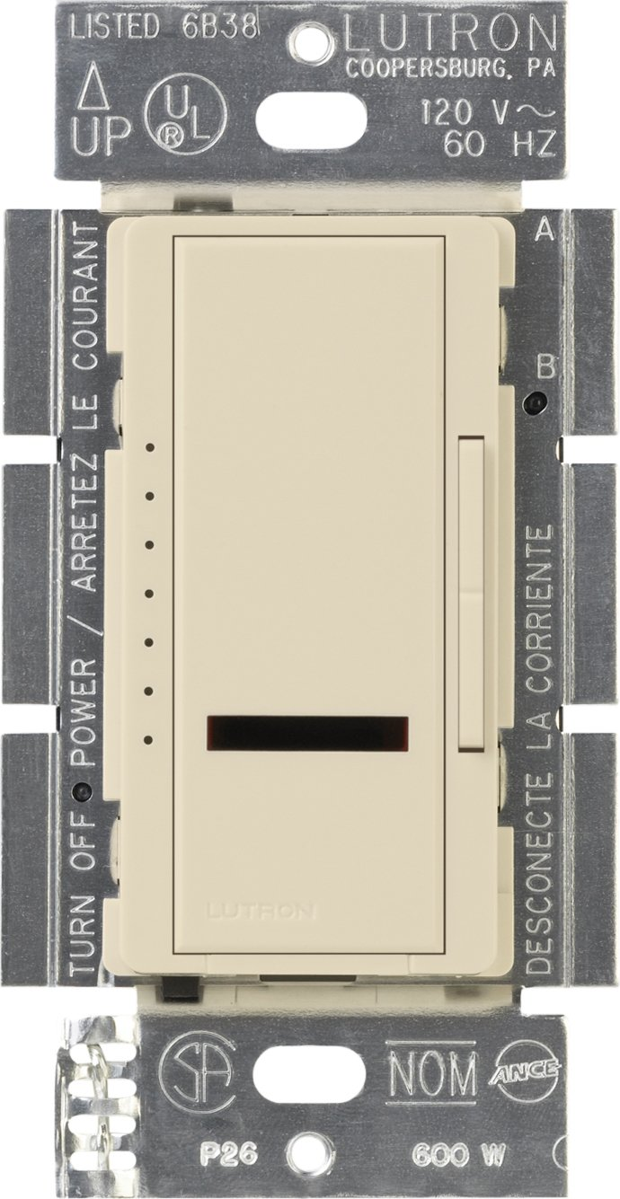 Lutron Maestro IR Dimmer Switch for Incandescent and Halogen Bulbs, Single-Pole, MIR-600-ES, Eggshell