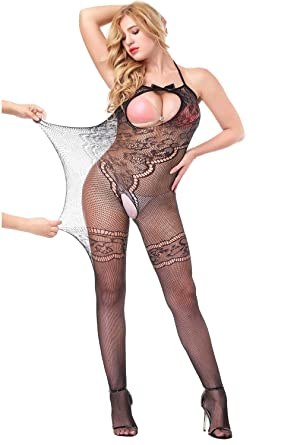 dca7b2ff7b3 Image Unavailable. Image not available for. Color  evershare Women Sexy  Lingerie Bodystocking Fishnet Floral Crotchless Hole Front Bodysuit For Sex  Red ...