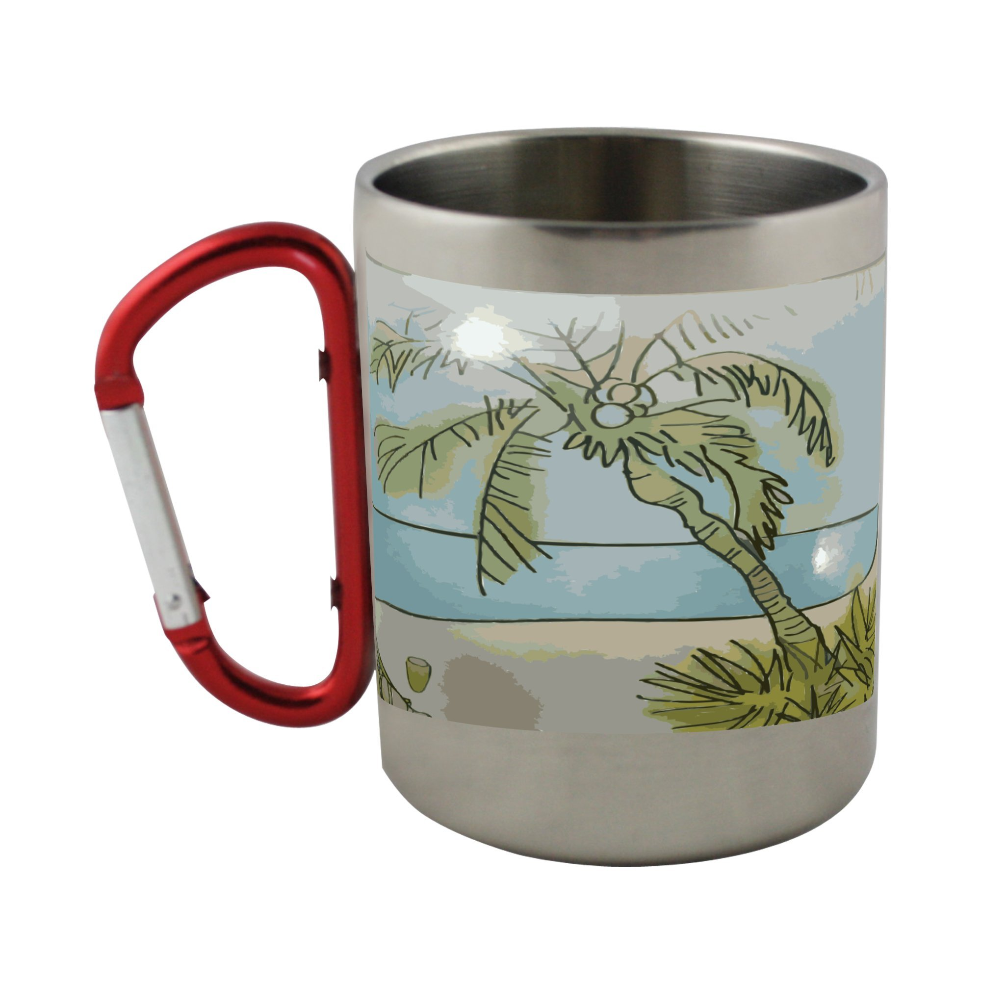 Stainless steel mug with carabiner handle with Remix of Thai Restaurant Beach Scene