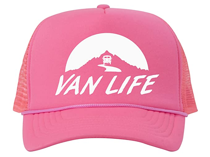 b0aac2a32fd Van Life Adjustable Mesh Trucker Hat w Rope Brim - White - Pink at ...