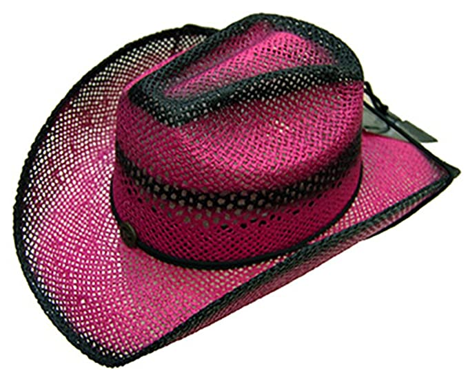 9b181a6702e19 Image Unavailable. Image not available for. Colour  Modestone Women s  Ladies Straw Breezer Cowboy Hat Fuchsia