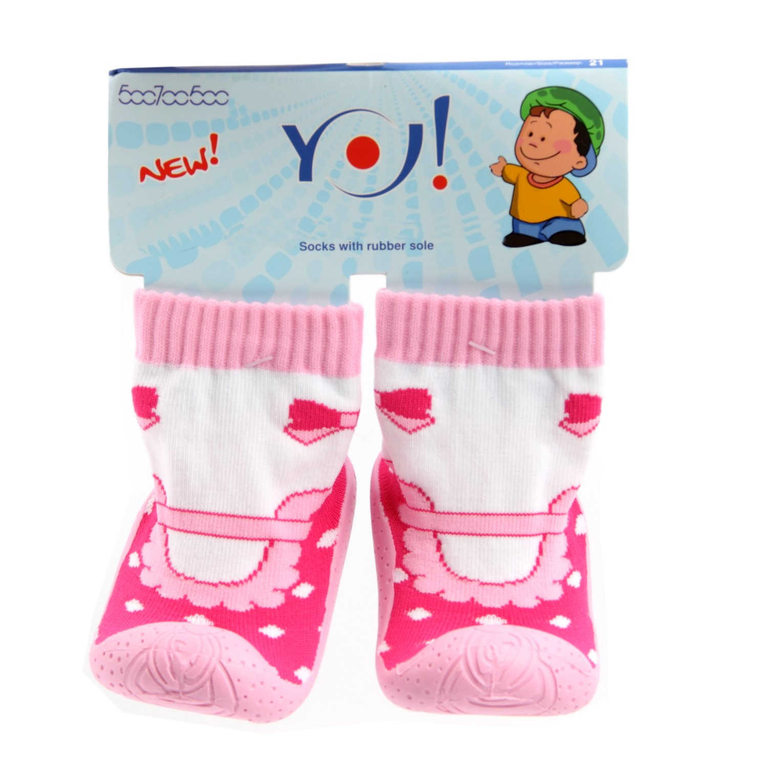OB 002 Children s Slipper Socks with Rubber Soles Pink Dots Size 5