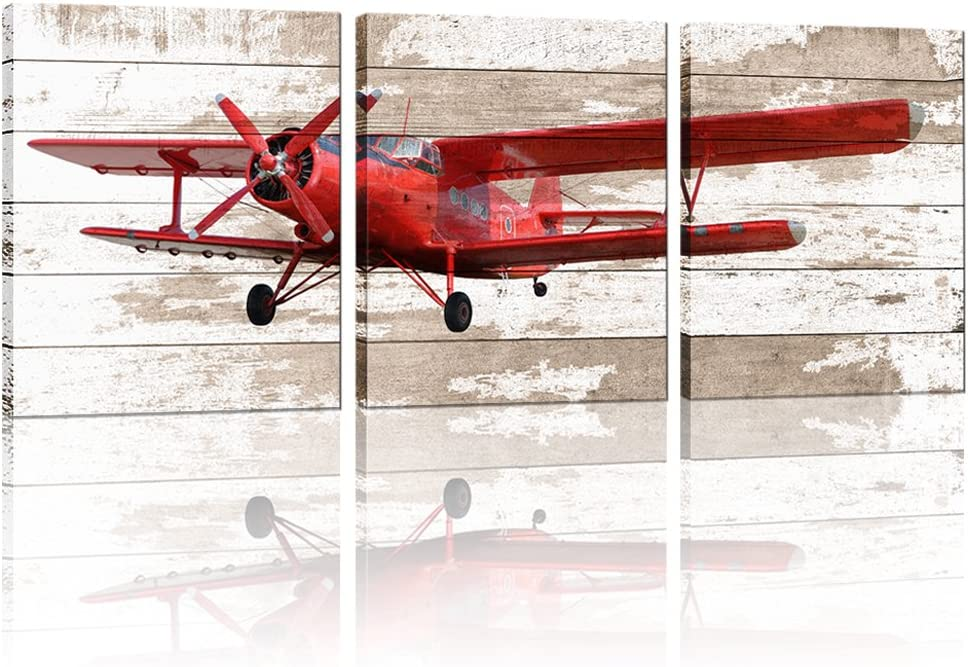 Large Retro 3 Piece Airplane Canvas Prints Wall Art Elderly Propeller Airplane Pictures Poster Printed Artwork Stretched and Framed for Boy Kids Bed Room Home Decor 16