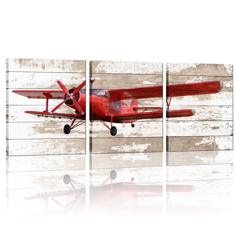 """3 Pieces Canvas Wall Art Red Vintage Propeller Aircraft Picture With Wooden Background Home Decor Framed and Stretched Ready to Hang For Office 12""""x16""""x3"""