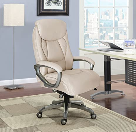 Serta Works Executive Office Chair With Smart Layers Technology, Inspired  Ivory Bonded Leather And Mesh