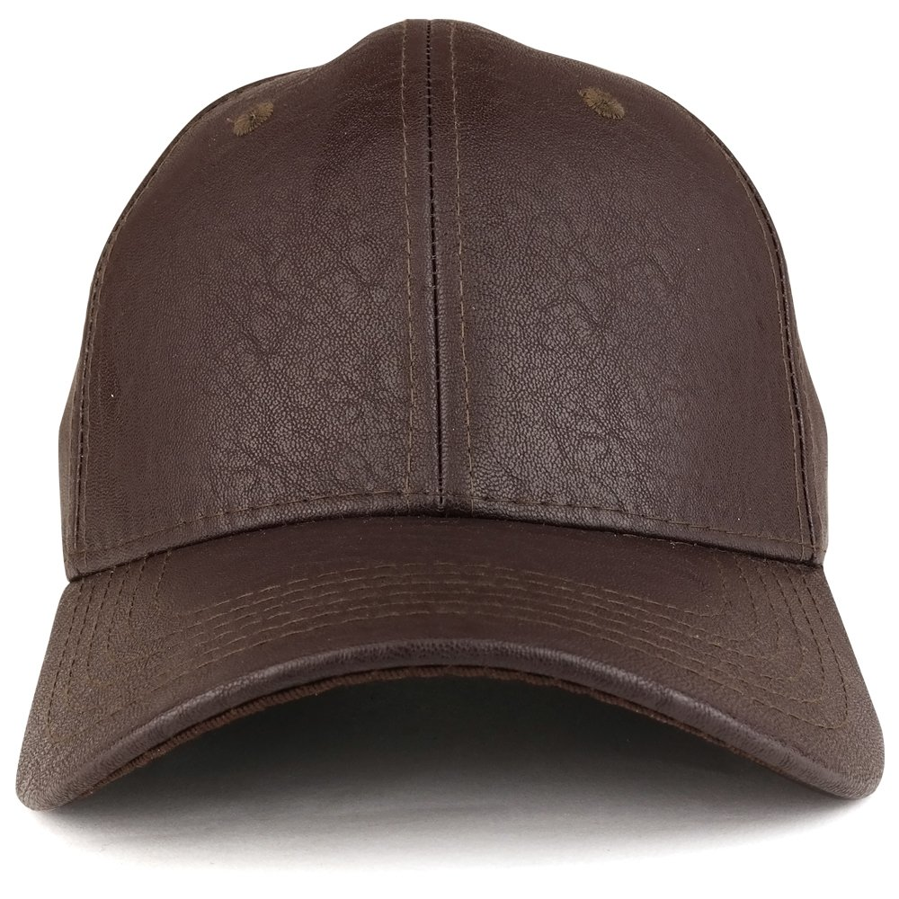 Trendy Apparel Shop Plain Matte Finish PU Leather Polyester Structured Adjustable Baseball Cap