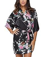 Original Kimono Women's Short Kimono Robe Bathrobe With Peacock Patterns