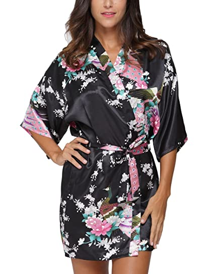 Women s Kimono Robe Satin Floral Peacock Bathrobe Short Silk Bridal  Nightwear Black S c65708c05