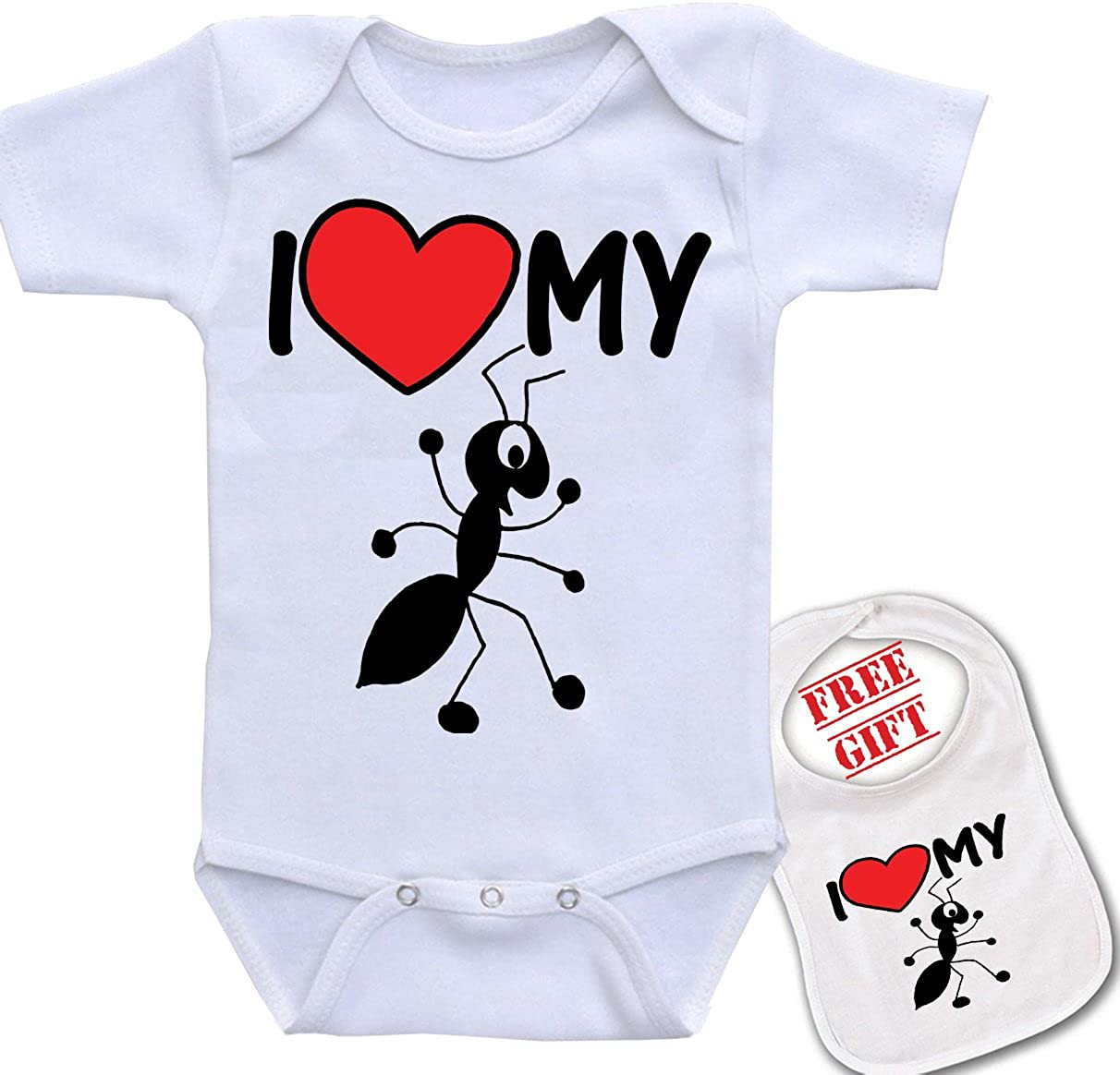 I Love My Aunt Ant Cartoon Unique Unisex Baby Bodysuit Onesie /& Matching bib