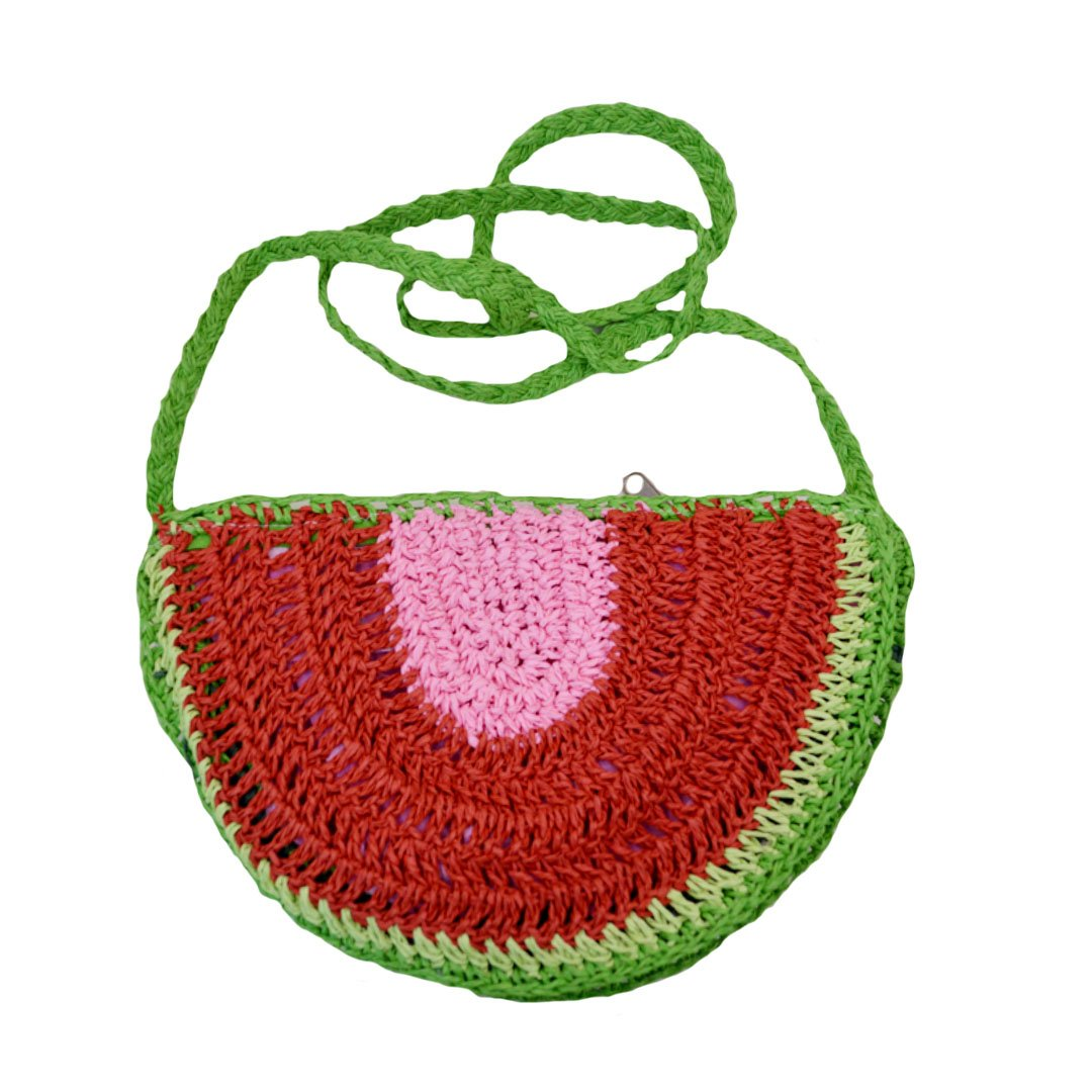 Monique Girls Women Cute Straw Shoulder Bag Ladies Fruit Shape Hand-woven Cross-body Bag Watermelon
