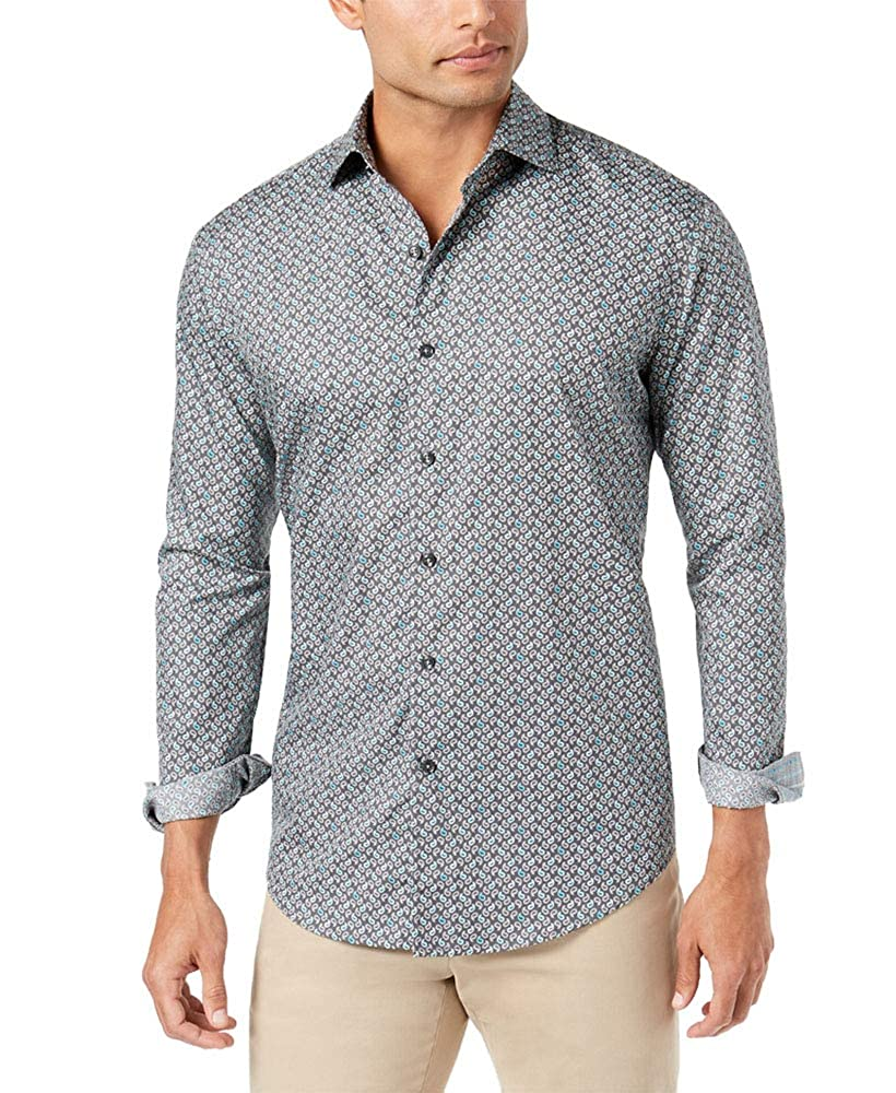 Tasso Elba Mens Gioto Paisley-Print Shirt Medium Grey Combo