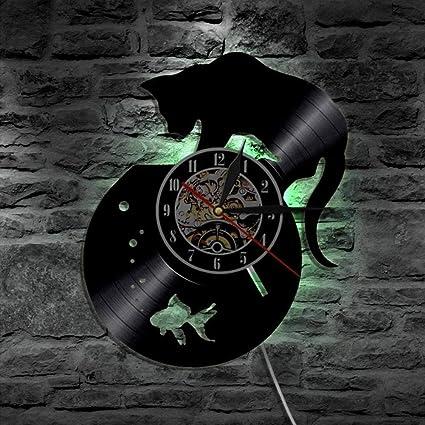 Negro Gato y Pecera Vinilo Reloj¡leD Pared Ligero Remoto Controlador Iluminar Desde el Fondo