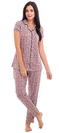7fc95379c ZEYO Women s Cotton Purple   Yellow Star   Heart Print Night Suit ...