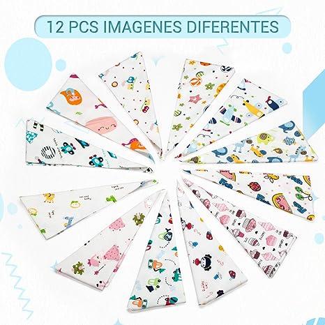Wonyered 12 pcs Baberos Algodón para Bebé 1 a 36 Meses Niños Niñas Recién Nacido Bufandas Suave Cómodo Diseño de Animales Diferente