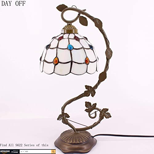 Tiffany Lamps Stained Glass Table Desk Reading Lamp LED Bulb Included Crystal Bead Phoenix Feather Style Shade W8H22 Inch