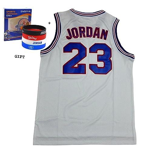9b9fcb95fbb7 Amazon.com   masmig Jordan 23 Squad Space Jam Jersey Basketball Jersey  Include Free Themed Wristbands (White
